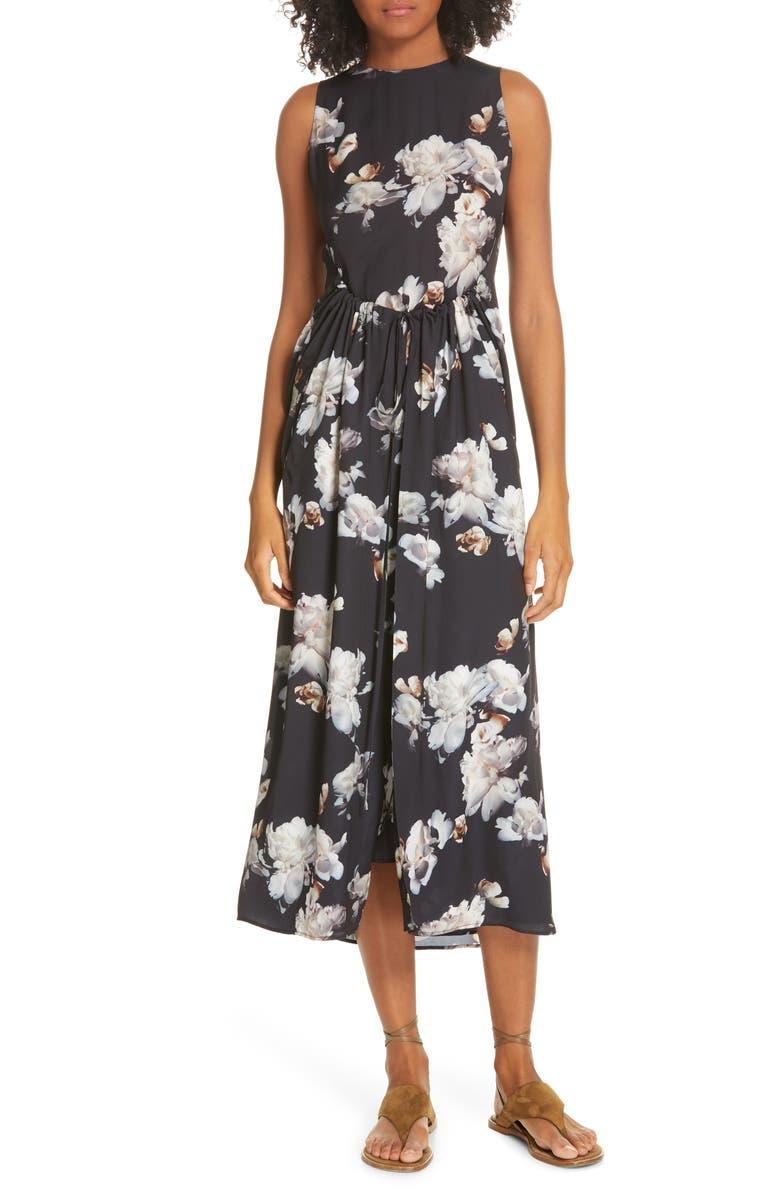 VINCE Peony Print Shirred Drawstring Midi Dress, Main, color, 001