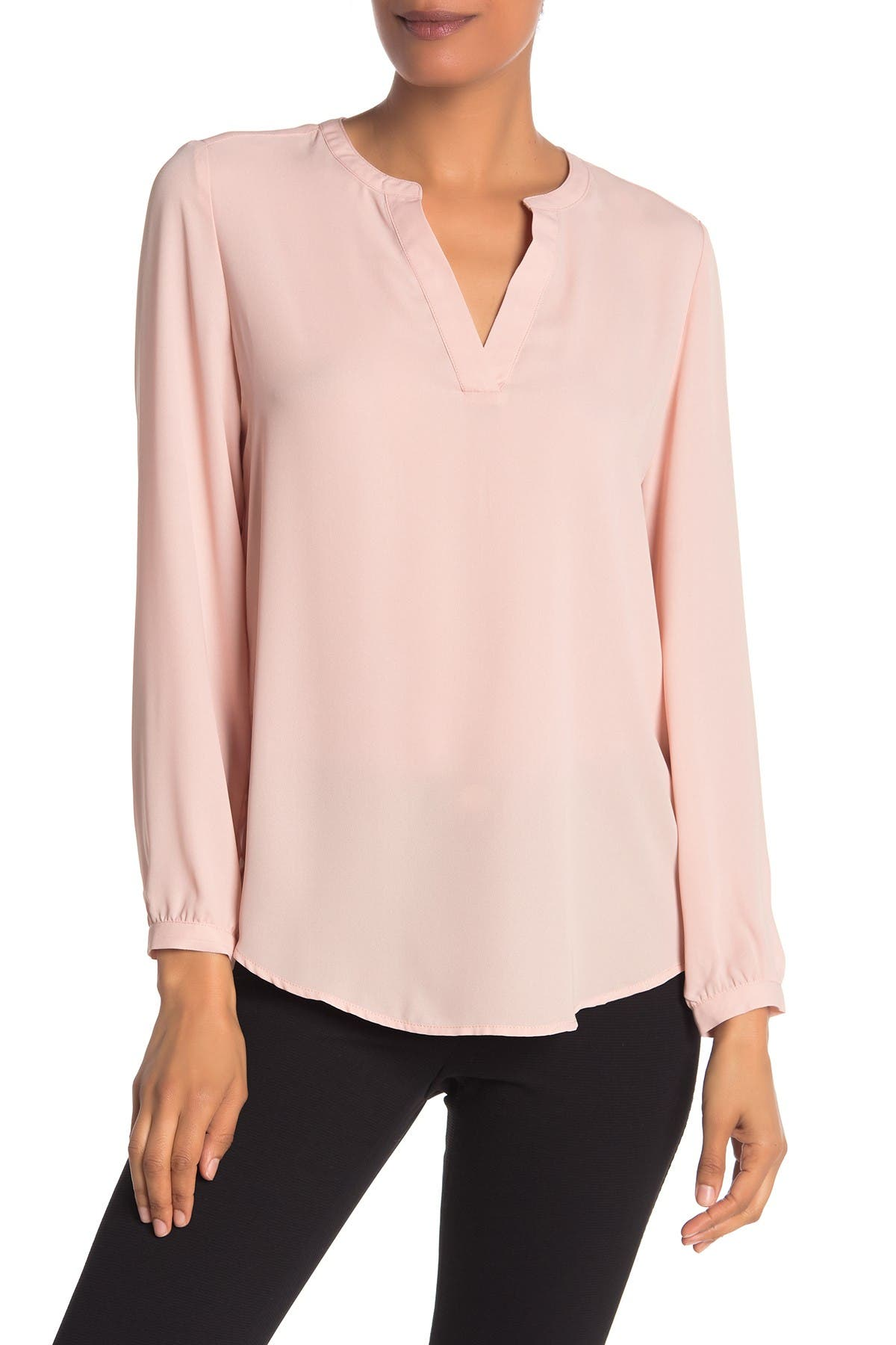 Image of Adrianna Papell Split Neck Long Sleeve Blouse