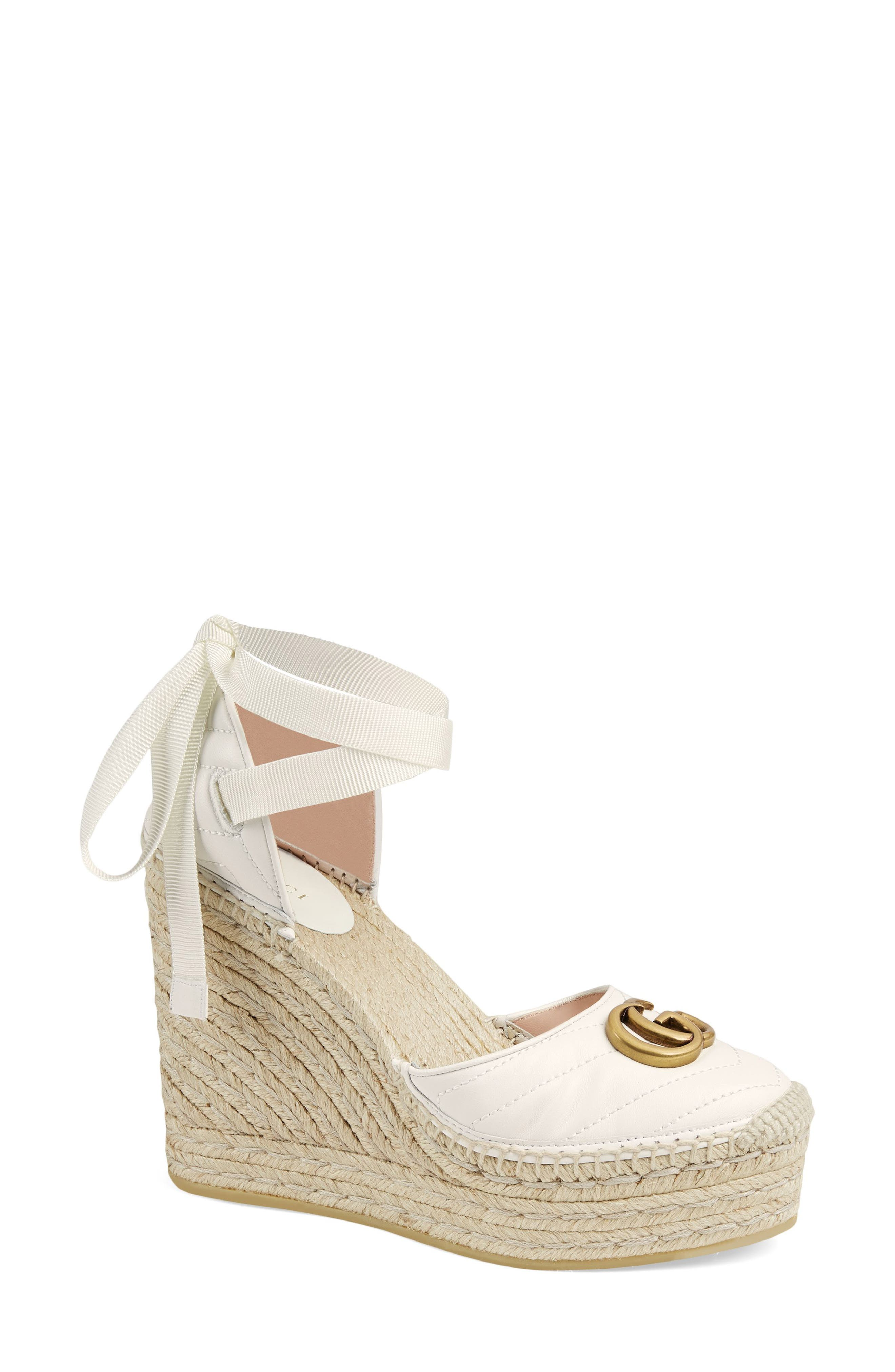 Gucci Palmyra Ankle Tie Espadrille Wedge (Women)