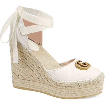 Gucci Palmyra Ankle Tie Espadrille Wedge, White