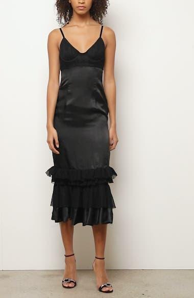 Ruffle Hem Bustier Midi Dress, video thumbnail