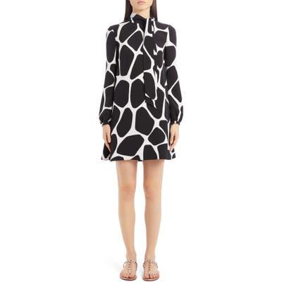 Valentino Giraffe Print Long Sleeve Silk Minidress, US / 42 IT - Black