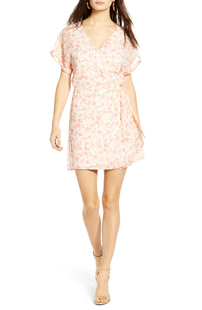 ALL IN FAVOR Simone Floral Wrap Front Minidress, Main, color, MULTI ANIMAL