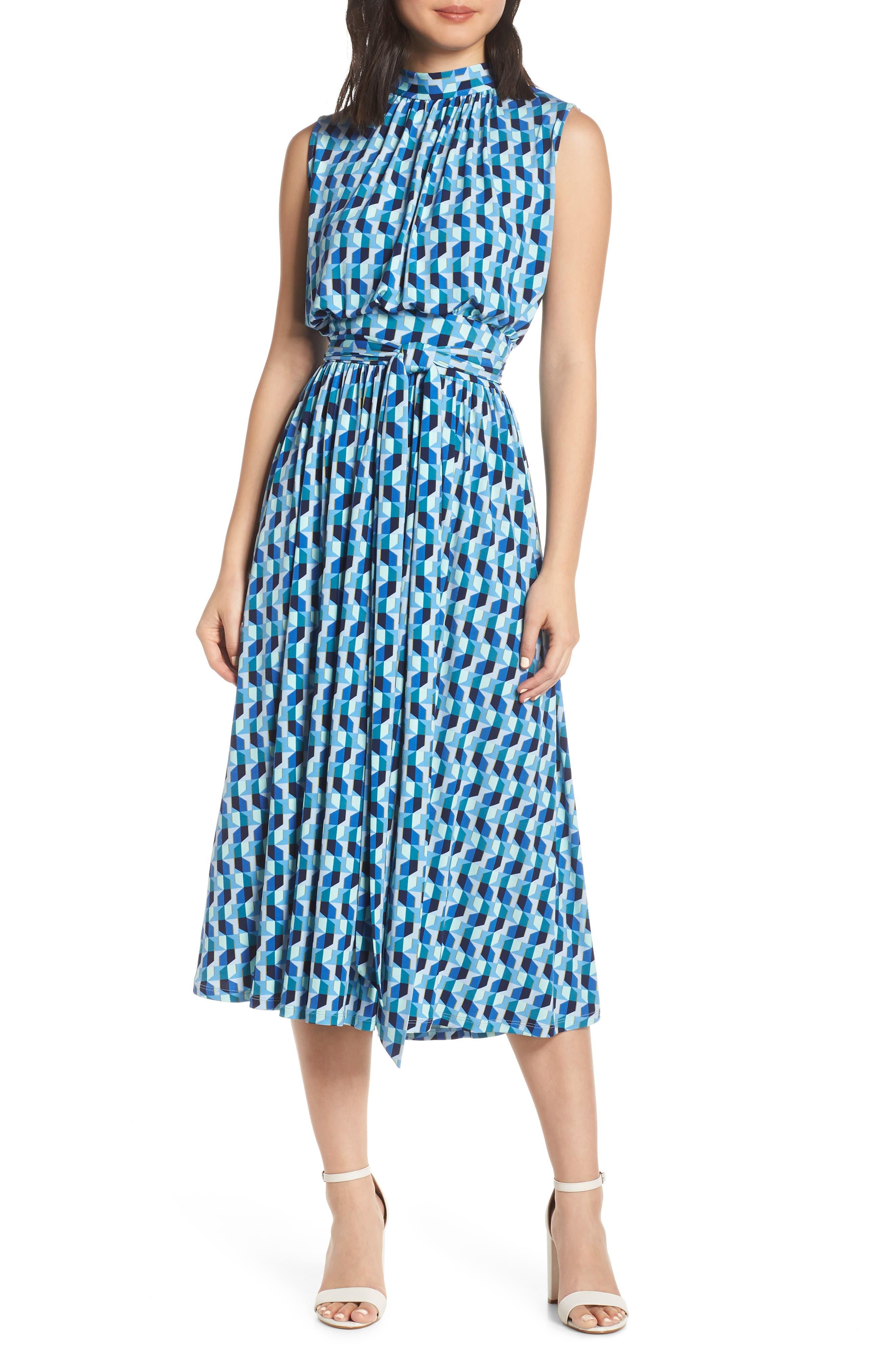 Mindy Shirred Midi Dress, Main, color, AZURE BLUE