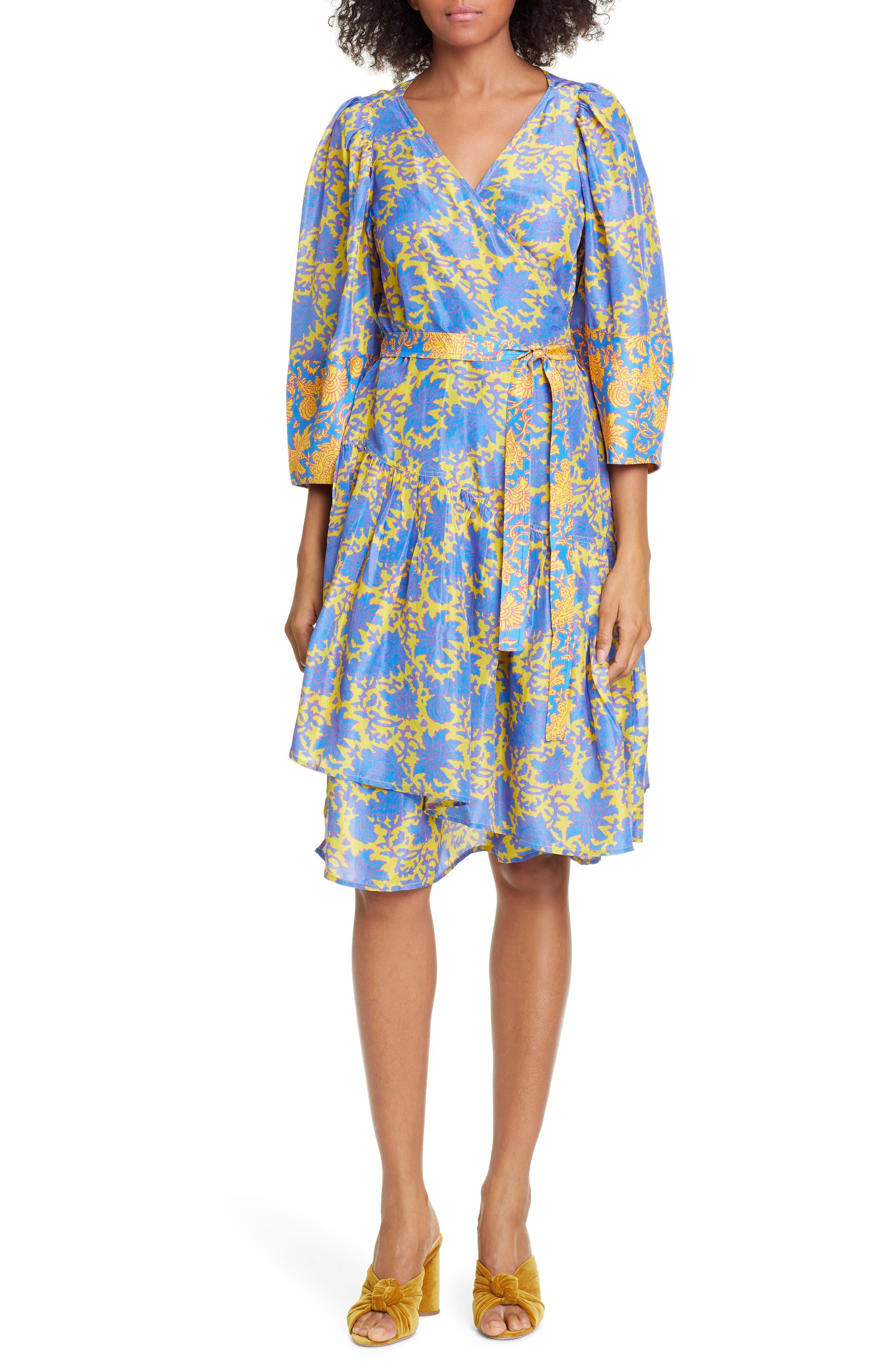 Apiece Apart Meru Bougainvillea Silk Wrap Dress, Yellow