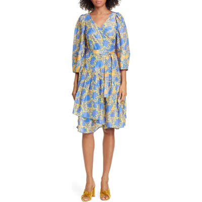 Apiece Apart Meru Bougainvillea Silk Wrap Dress, Yellow