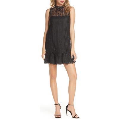 Bb Dakota Sheri Mock Neck Sleeveless Lace Mini Shift Dress, Black