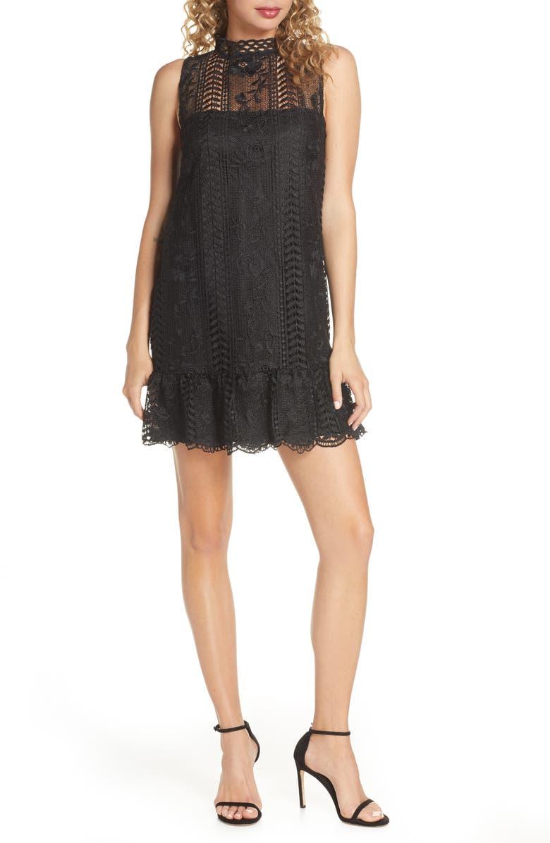 BB DAKOTA Sheri Mock Neck Sleeveless Lace Mini Shift Dress, Main, color, BLACK