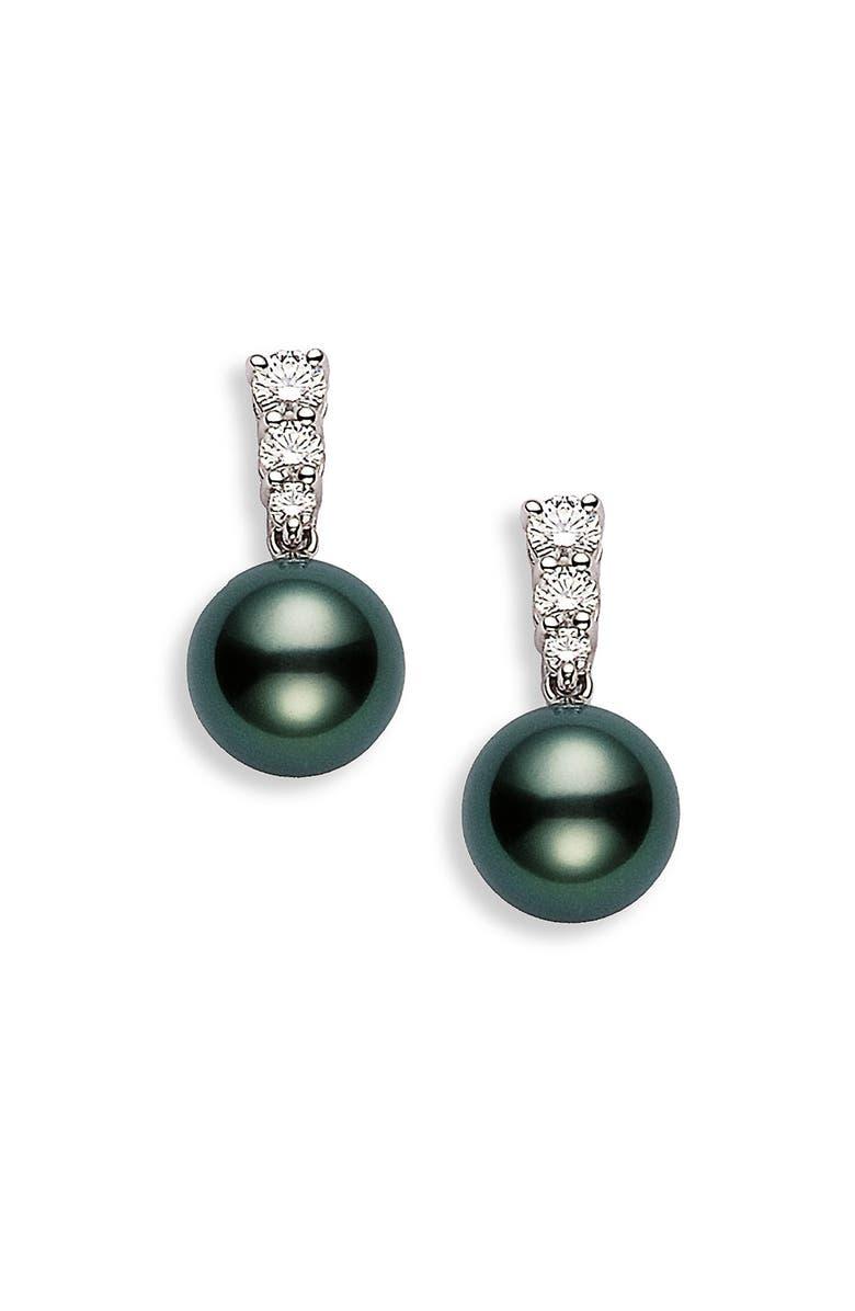 MIKIMOTO 'Morning Dew' Black South Sea Cultured Pearl & Diamond Earrings, Main, color, WHITE GOLD