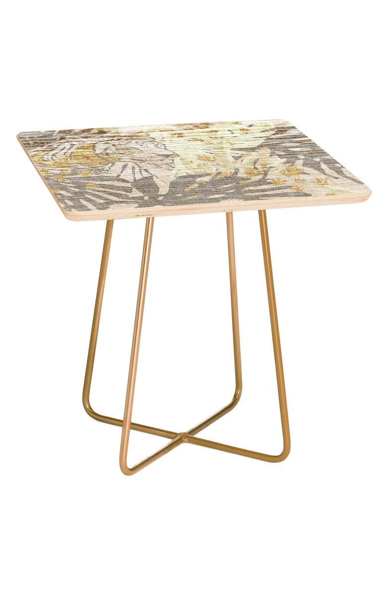 DENY DESIGNS Jungle Tiger Side Table, Main, color, BROWN