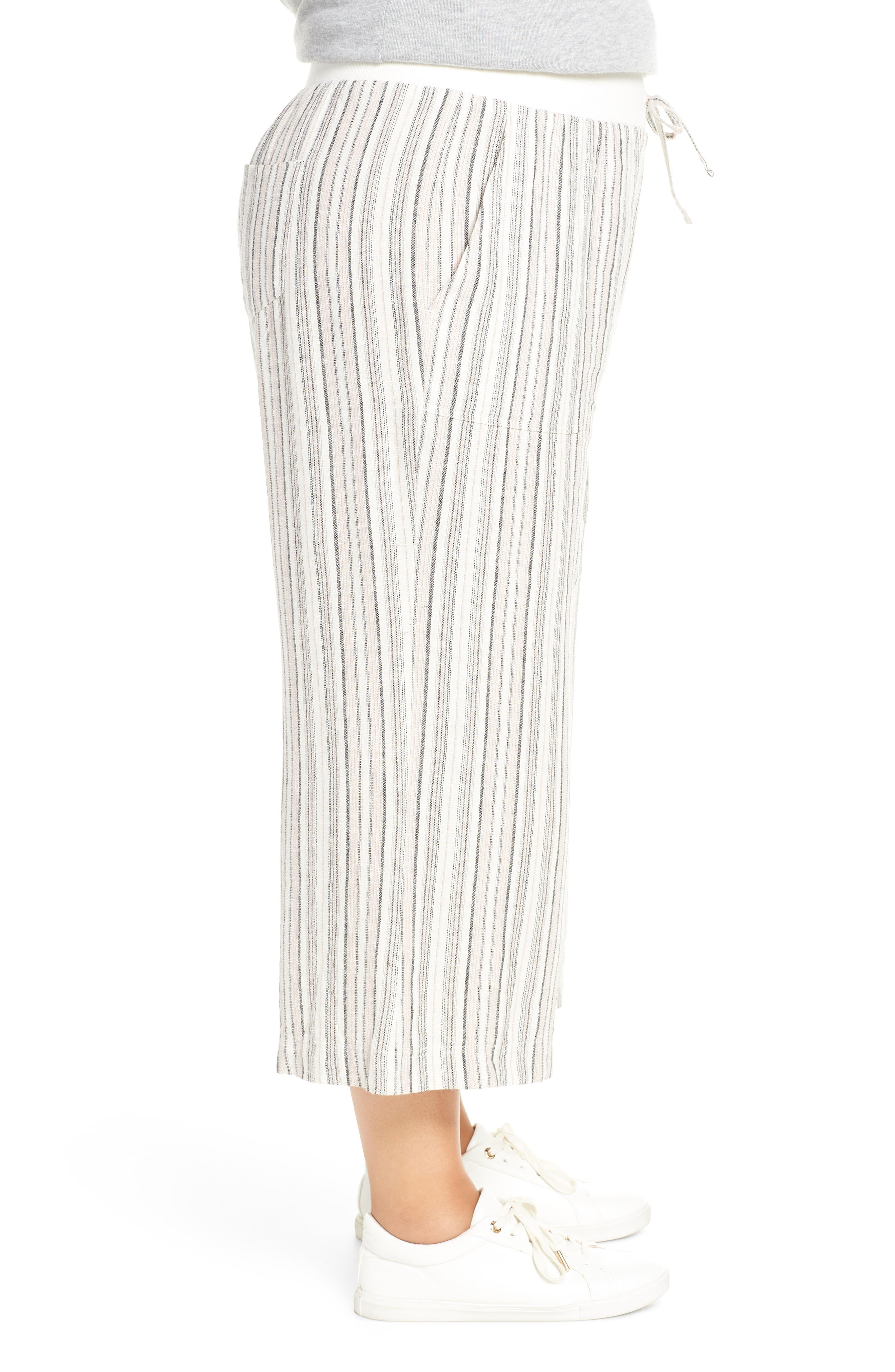 ,                             Stripe Crop Linen Blend Pants,                             Alternate thumbnail 22, color,                             680