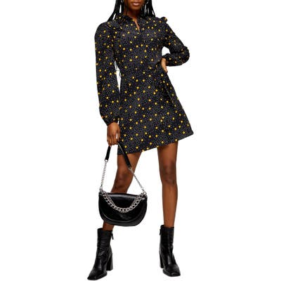 Topshop Polka Dot Long Sleeve Minidress, US (fits like 6-8) - Yellow