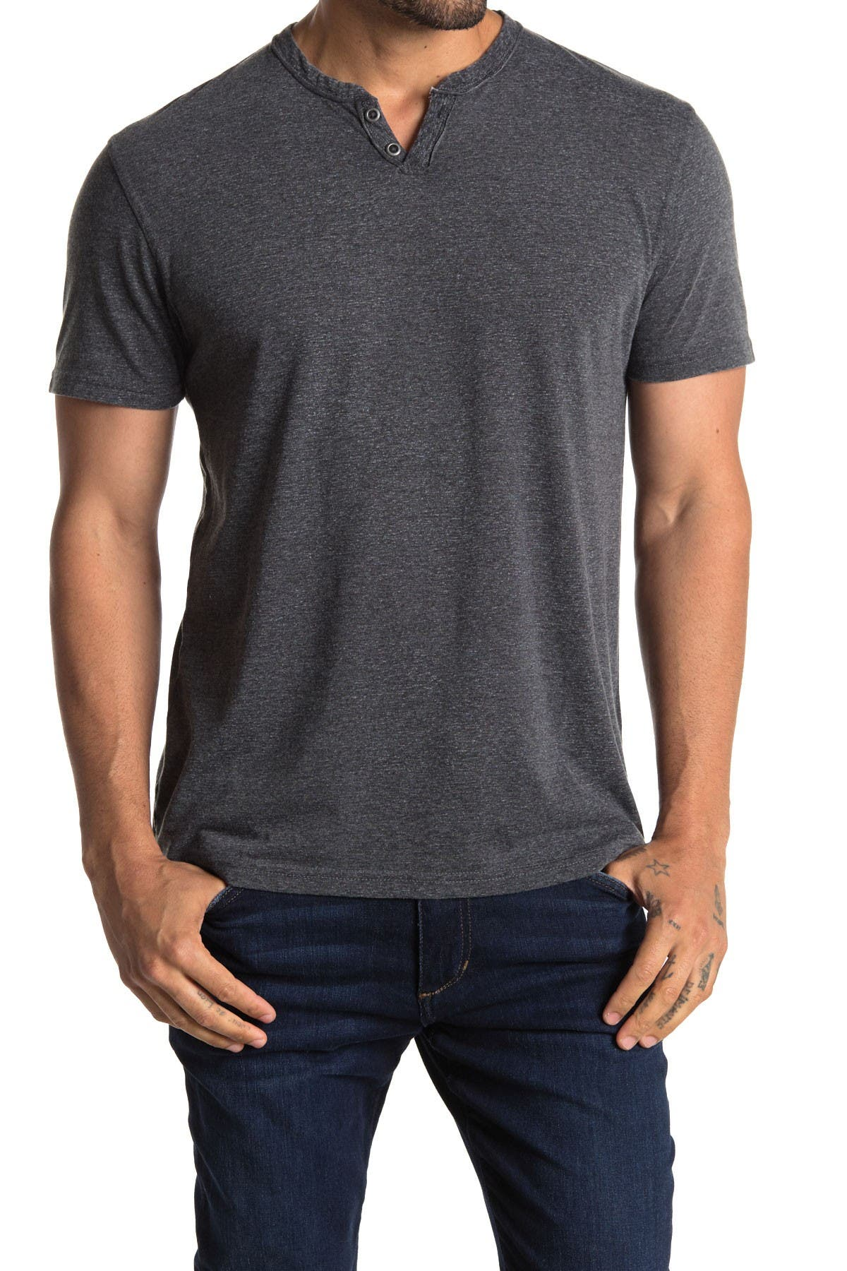 Image of Lucky Brand Edge Wash Short Sleeve 2 Button Notch T-Shirt