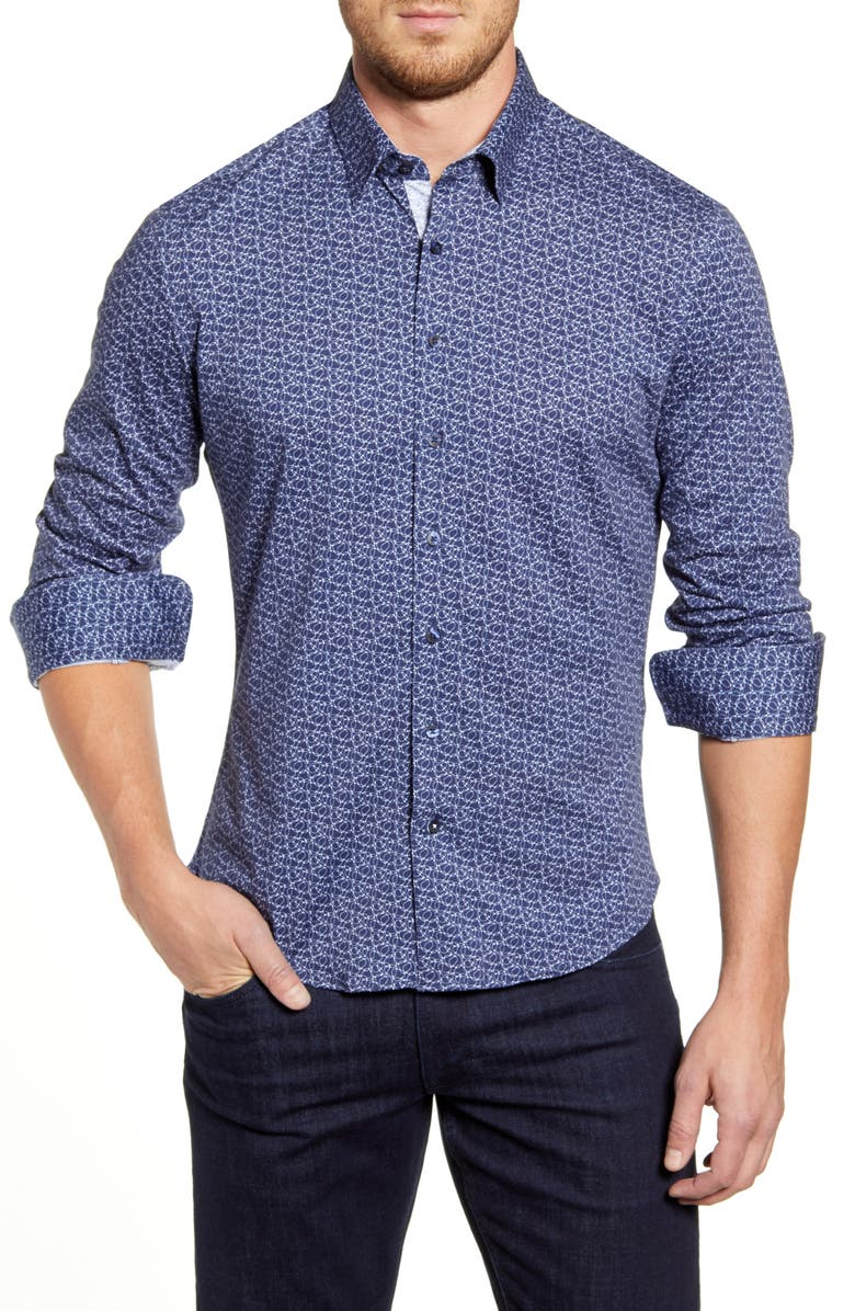 STONE ROSE Regular Fit Button-Up Performance Shirt, Main, color, NAVY
