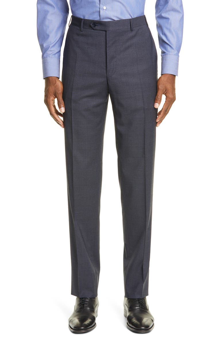 CANALI Flat Front Stretch Check Wool Dress Pants, Main, color, NAVY