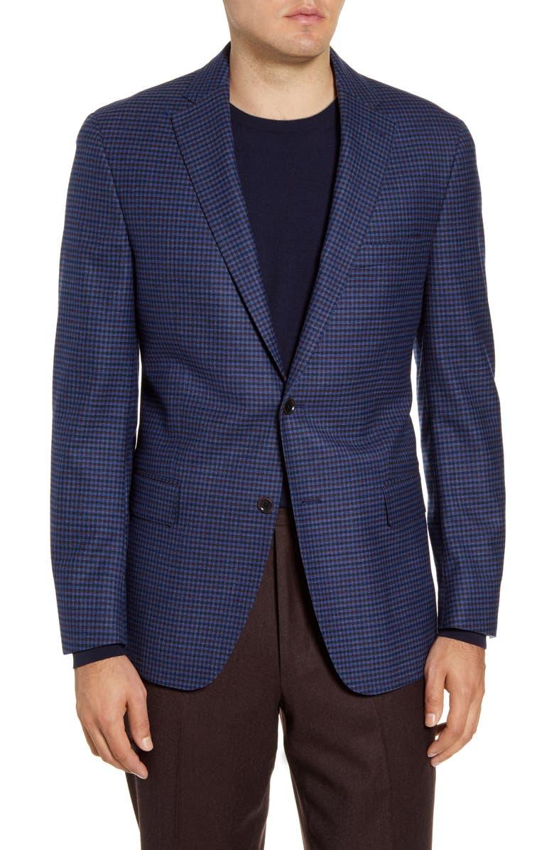 HART SCHAFFNER MARX Classic Fit Check Stretch Wool Sport Coat, Main, color, DARK BLUE