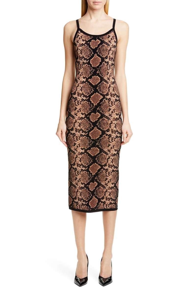 MICHAEL KORS COLLECTION Metallic Python Jacquard Slipdress, Main, color, COCOA MULTI