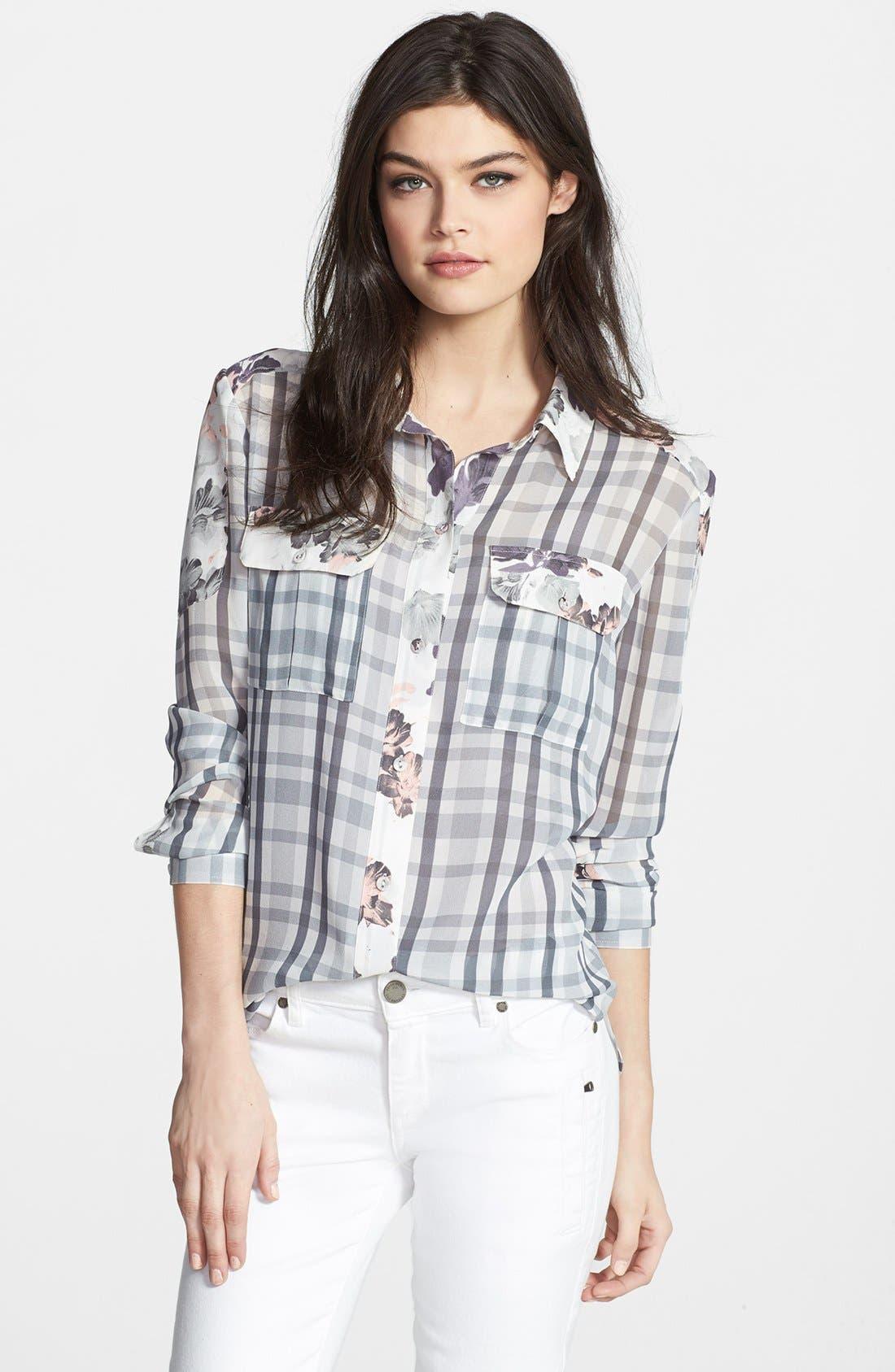 ,                             Denim 'Audrey' Mixed Print Silk Shirt,                             Main thumbnail 1, color,                             020
