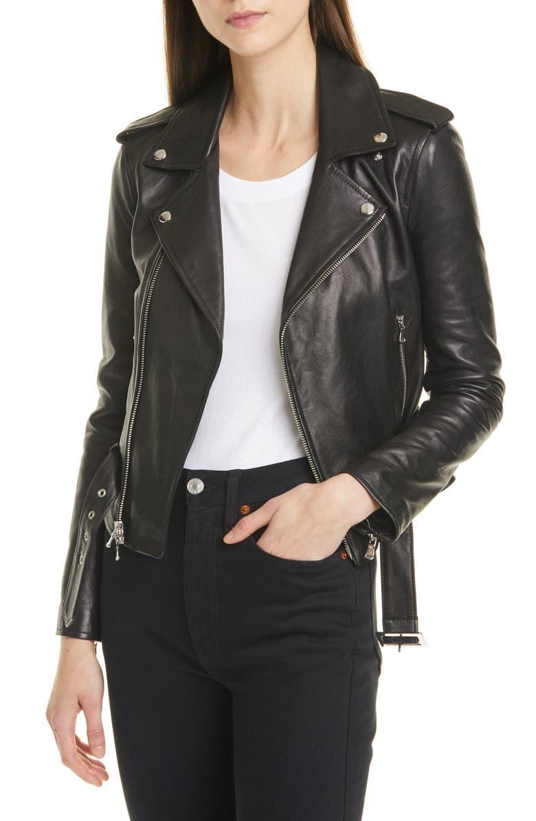 L'AGENCE Belted Leather Moto Jacket, Main, color, 001