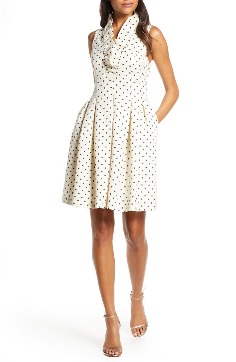 HARPER ROSE Metallic Polka Dot Fit & Flare Dress, Main, color, 901