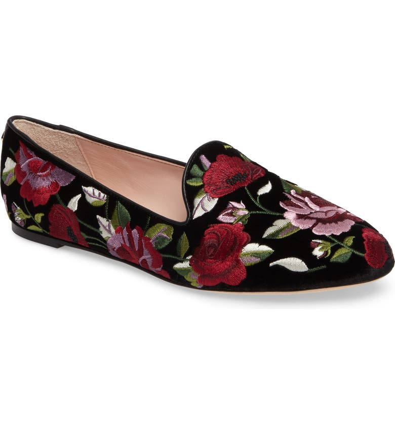 KATE SPADE NEW YORK swinton embroidered loafer, Main, color, 001