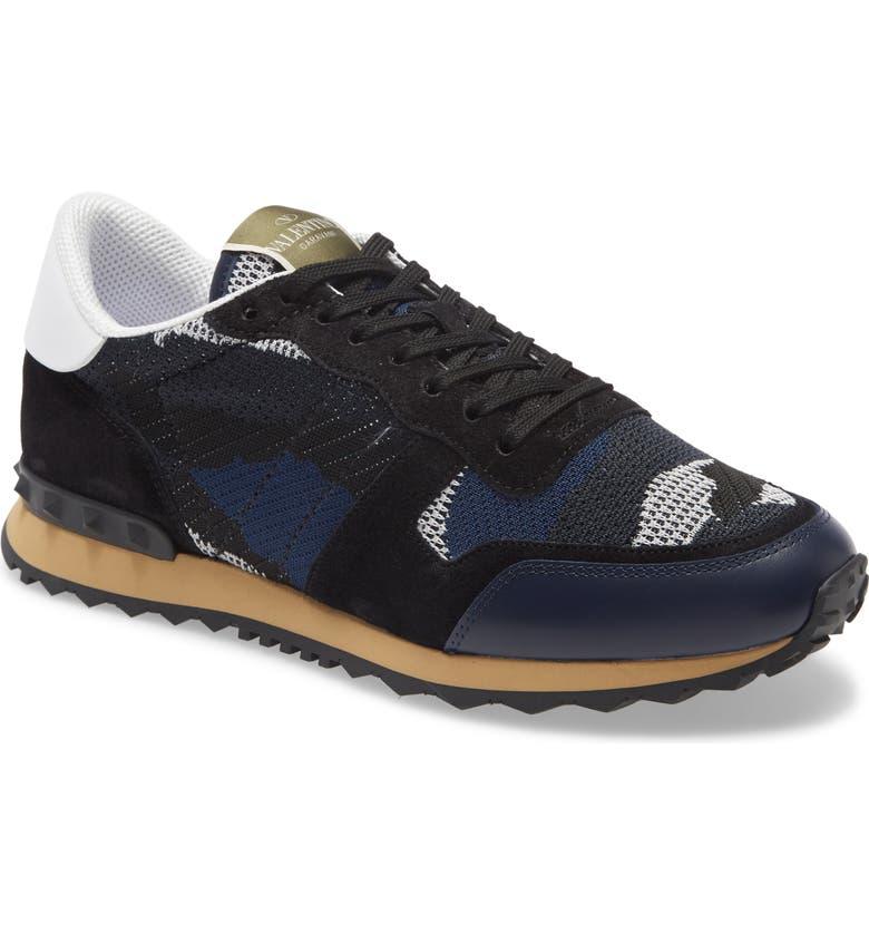 VALENTINO GARAVANI Nylon Rockrunner Sneaker, Main, color, BLACK / WHITE