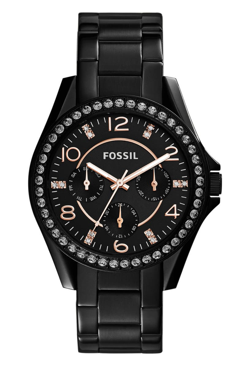 FOSSIL 'Riley' Round Crystal Bezel Bracelet Watch, 38mm, Main, color, 002