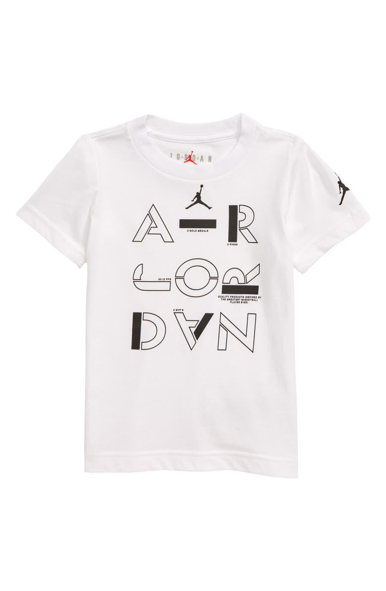 JORDAN AJ Stencil Graphic Logo T-Shirt, Main, color, WHITE