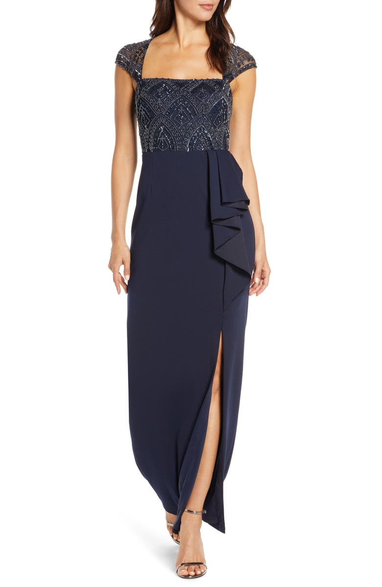 ADRIANNA PAPELL Beaded Bodice Evening Gown, Main, color, MIDNIGHT