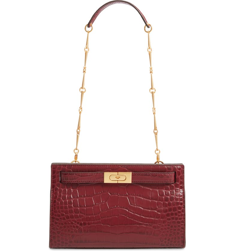 TORY BURCH Mini Lee Radziwill Leather Clutch, Main, color, CLARET