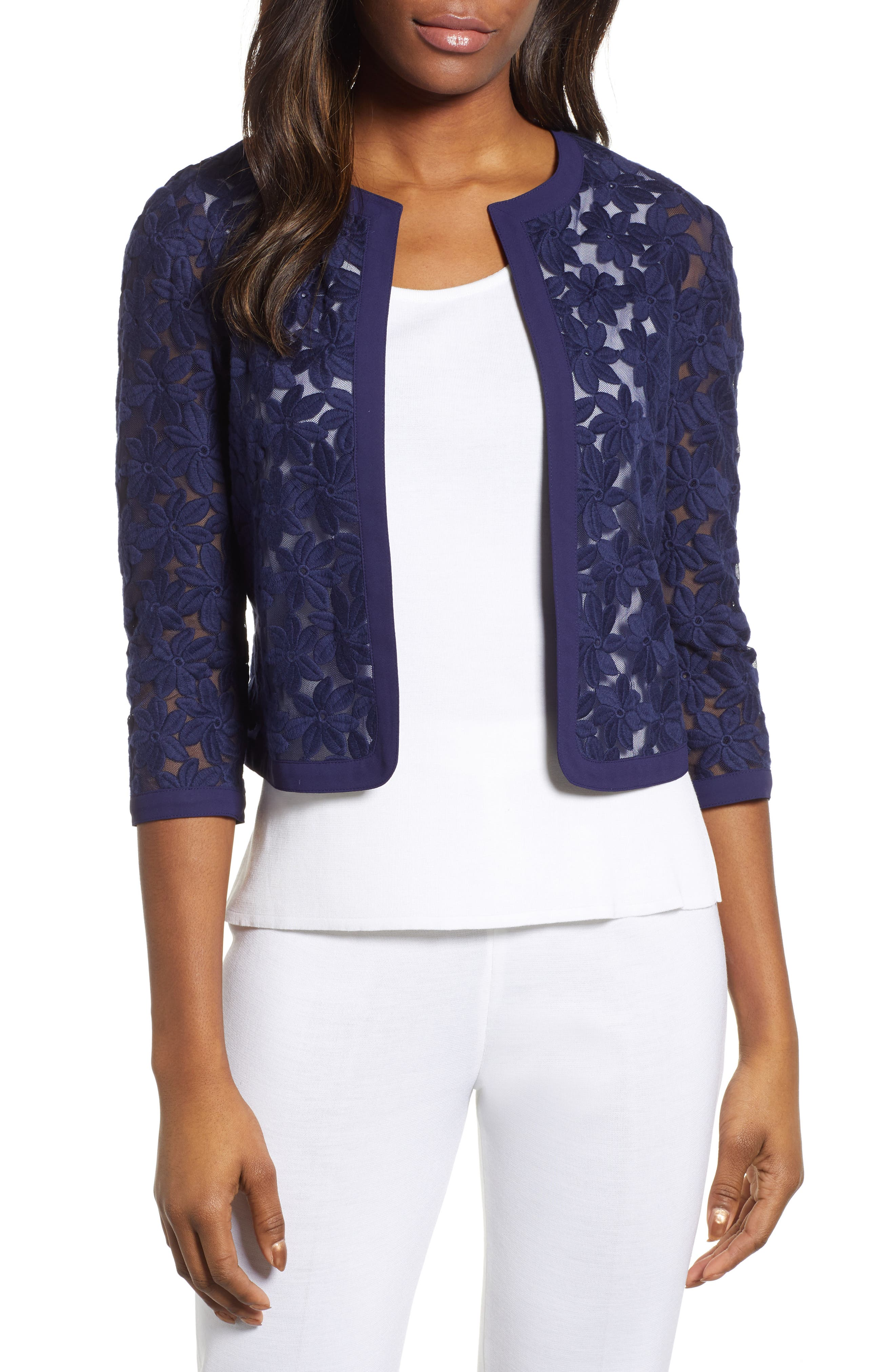 Anne Klein Broderie Lace Cardigan, Blue