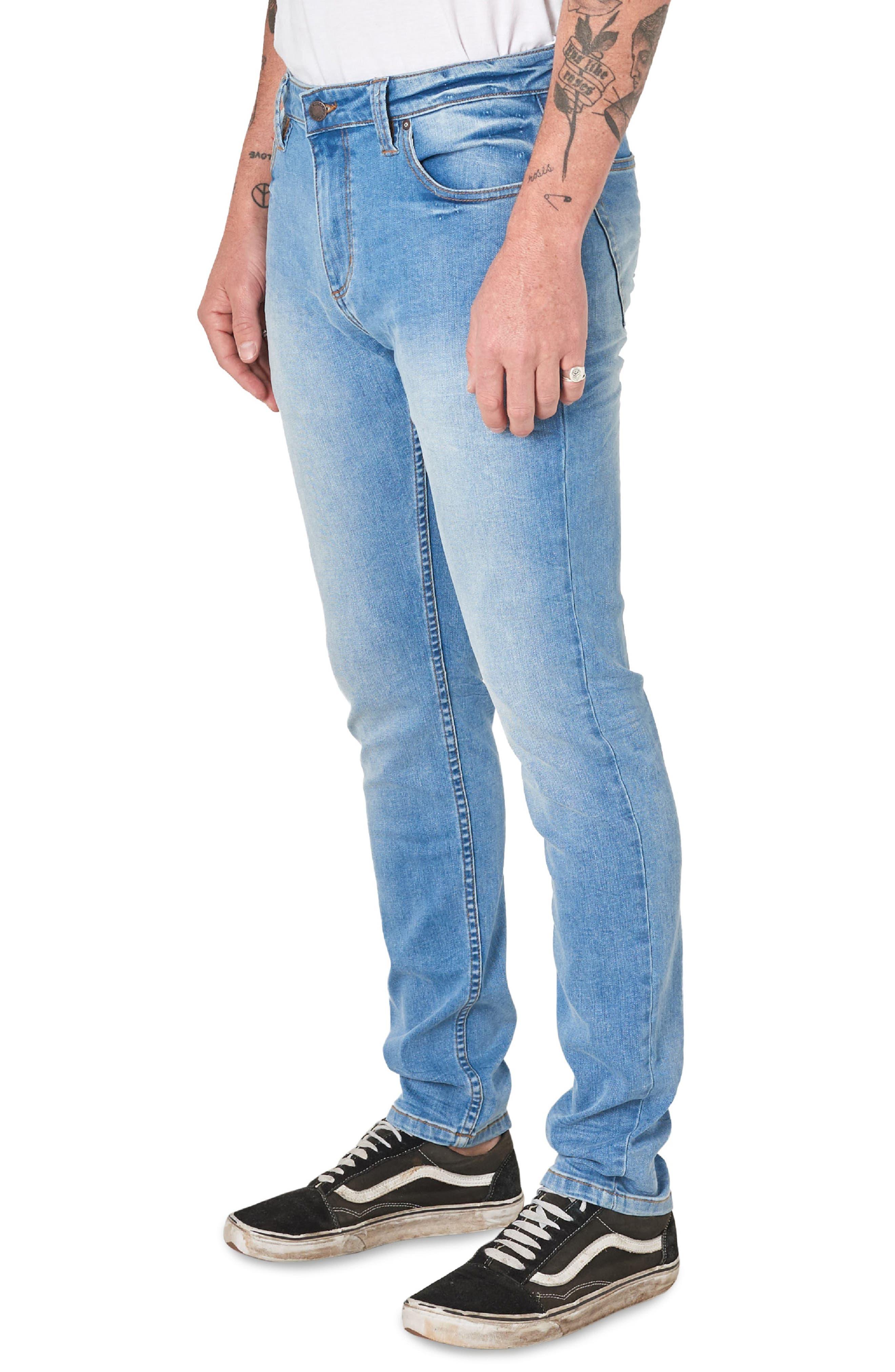 ,                             Stinger Skinny Fit Jeans,                             Alternate thumbnail 4, color,                             AUTHENTIC BLUE
