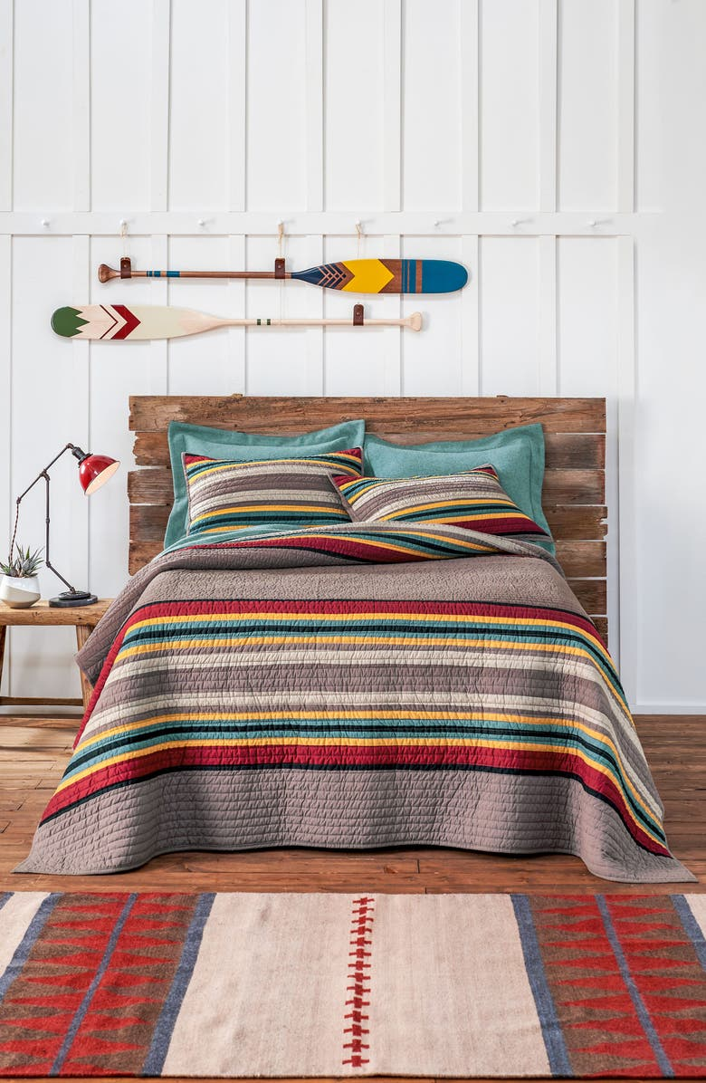 PENDLETON Yakima Camp Quilt & Sham Set, Main, color, BROWN
