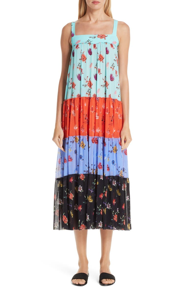 FUZZI Tiered Patchwork Midi Dress, Main, color, 400