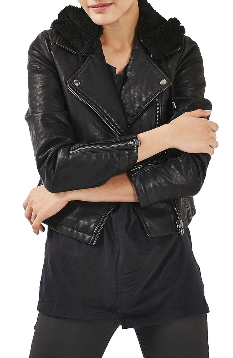 TOPSHOP Maggie Faux Leather Biker Jacket with Hood, Main, color, 001