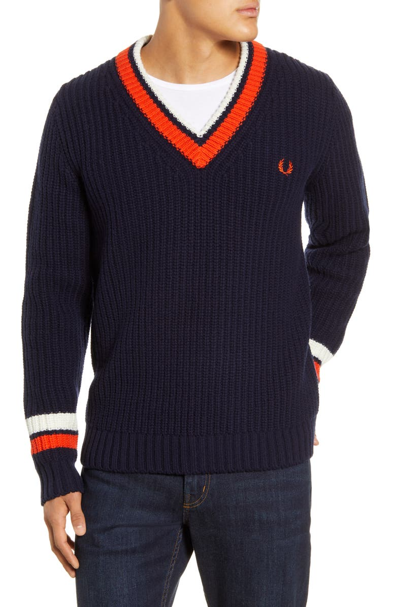 FRED PERRY Tipped Wool & Cotton V-Neck Sweater, Main, color, NAVY