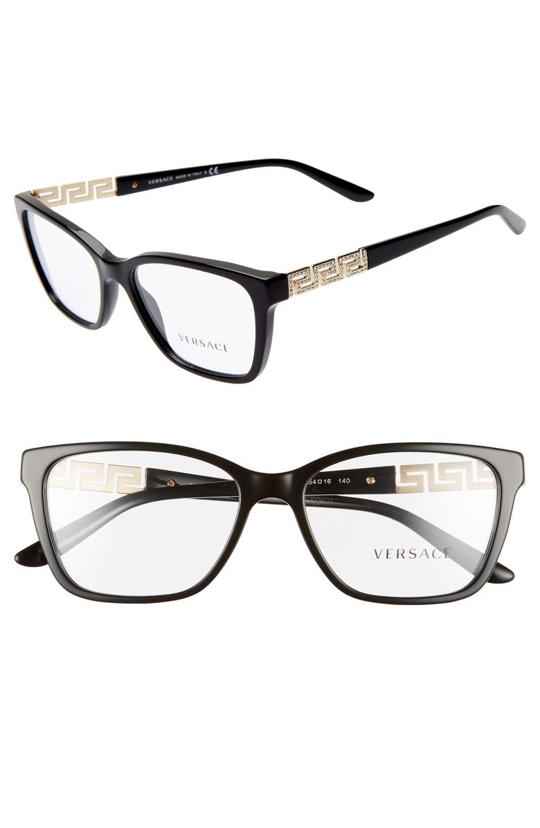 VERSACE 54mm Optical Glasses, Main, color, BLACK