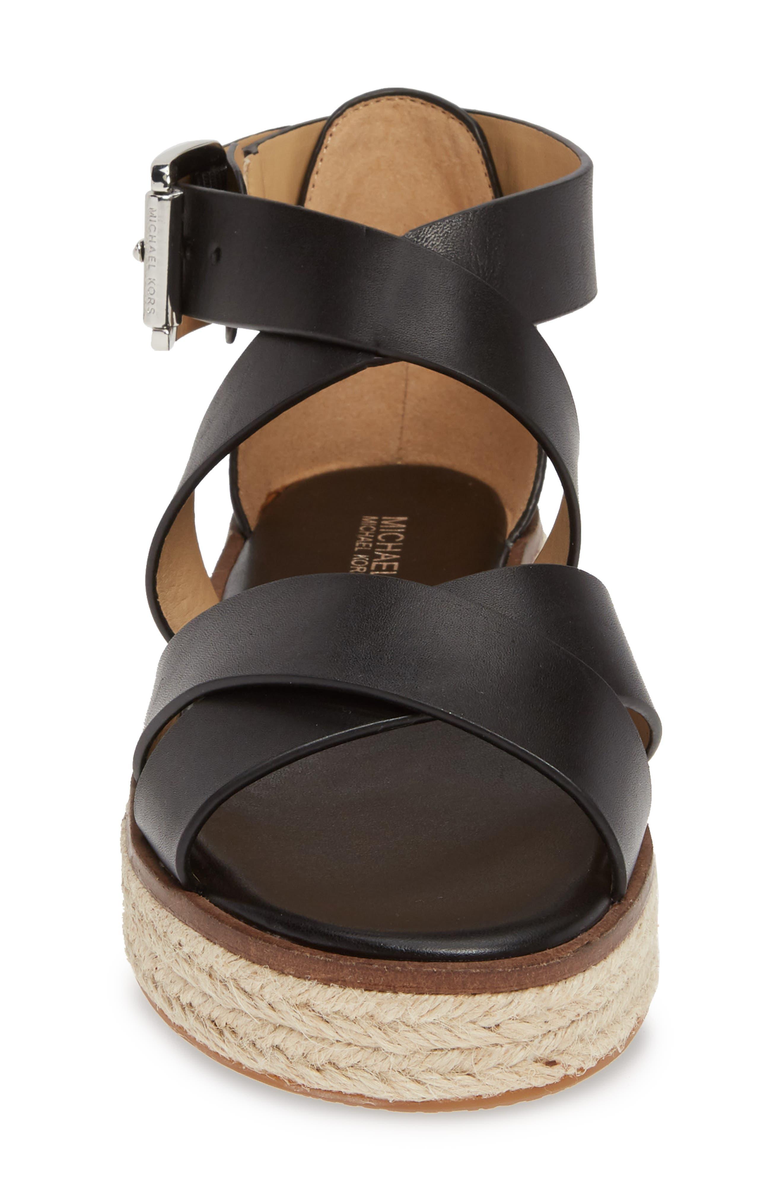 ,                             'Darby' Crisscross Espadrille Sandal,                             Alternate thumbnail 4, color,                             BLACK VACHETTA LEATHER