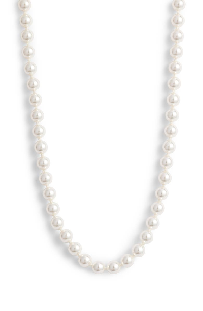 NADRI Simulated Pearl Collar Necklace, Main, color, PEARL/ SILVER