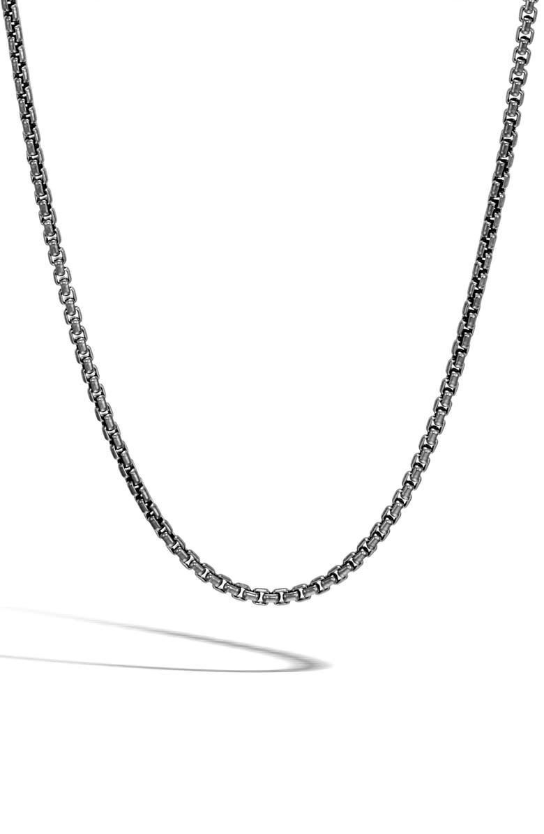 JOHN HARDY Men's Classic Box Chain Necklace, Main, color, BLACK RHODIUM