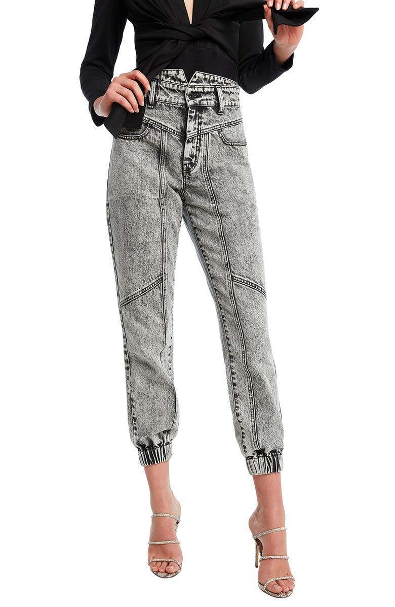 BARDOT Acid Wash Splice Jeans, Main, color, 032