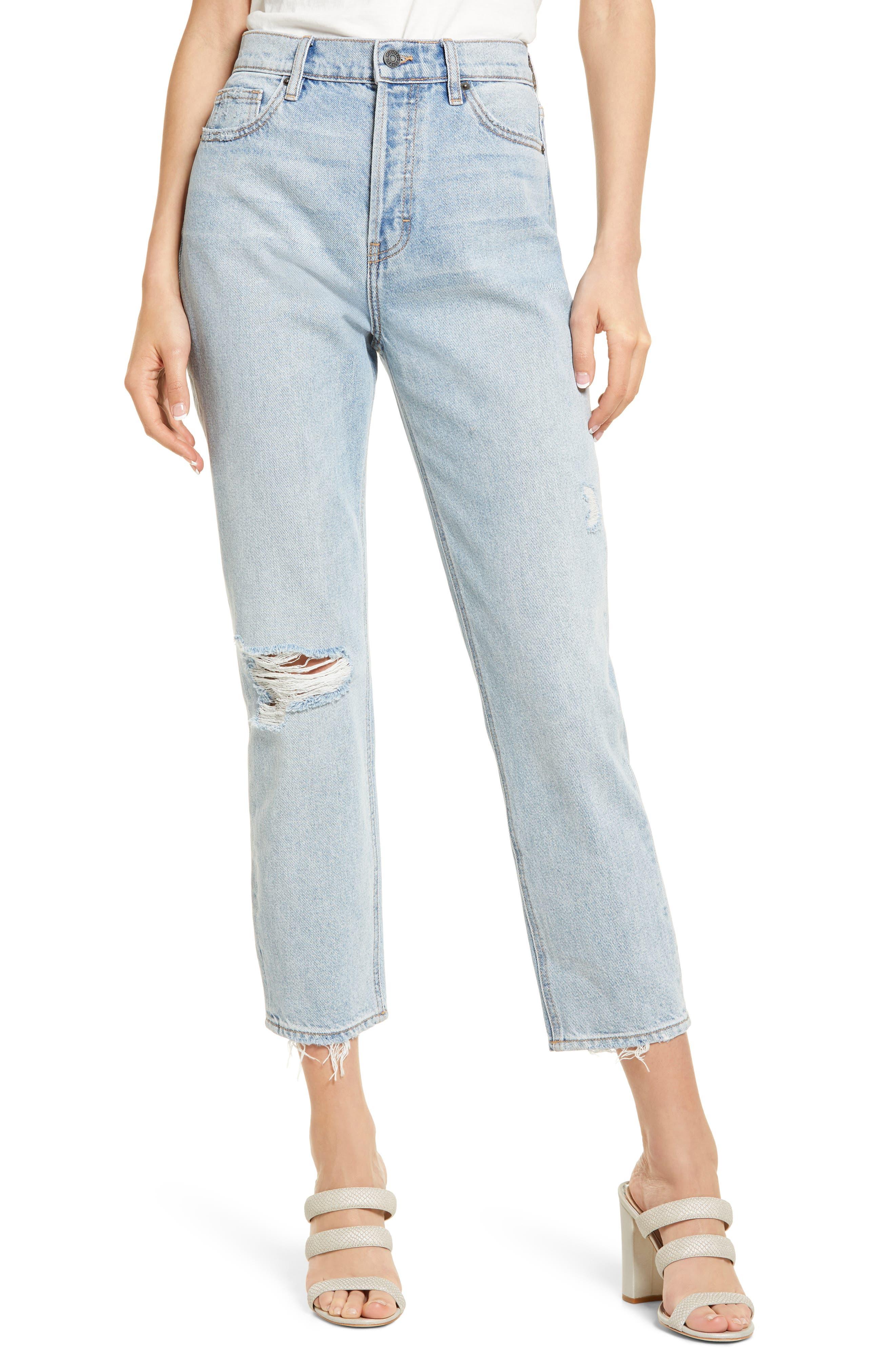 High Waist Fray Hem Nonstretch Straight Leg Jeans