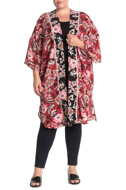 Image of Bobeau Boarder Floral Print Kimono