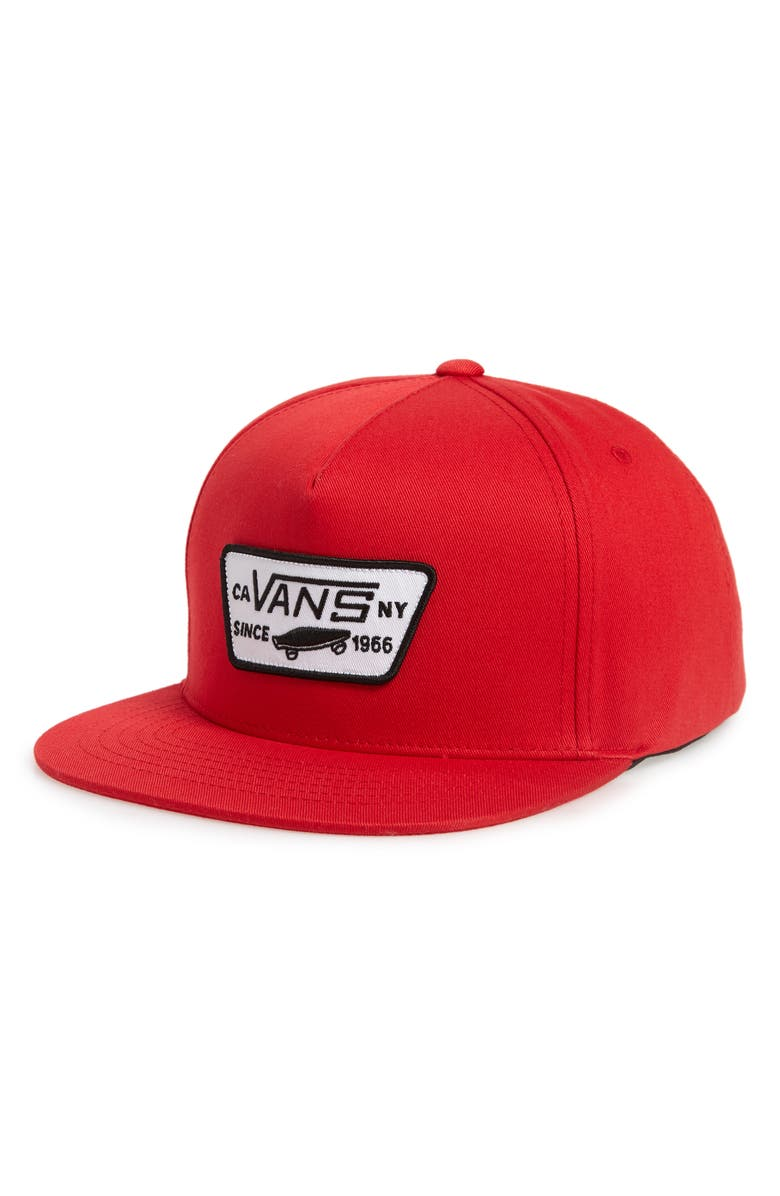 VANS 'Full Patch' Snapback Hat, Main, color, RACING RED
