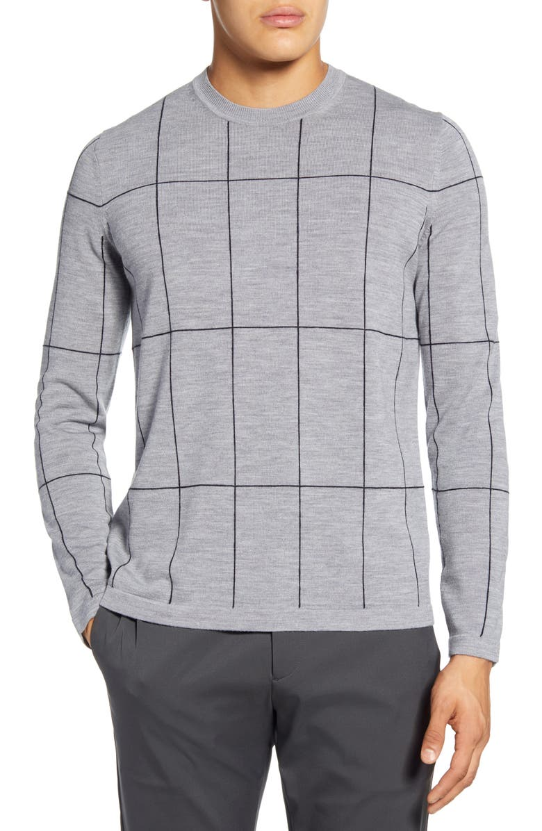 THEORY Malio Regular Fit Crewneck Wool Sweater, Main, color, PEBBLE HEATHER/ ECLIPSE