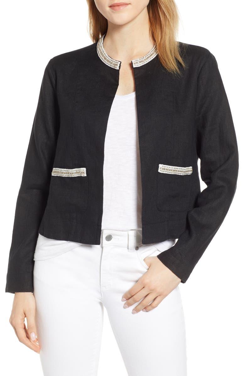 TOMMY BAHAMA Embellished Lux Linen Jacket, Main, color, BLACK