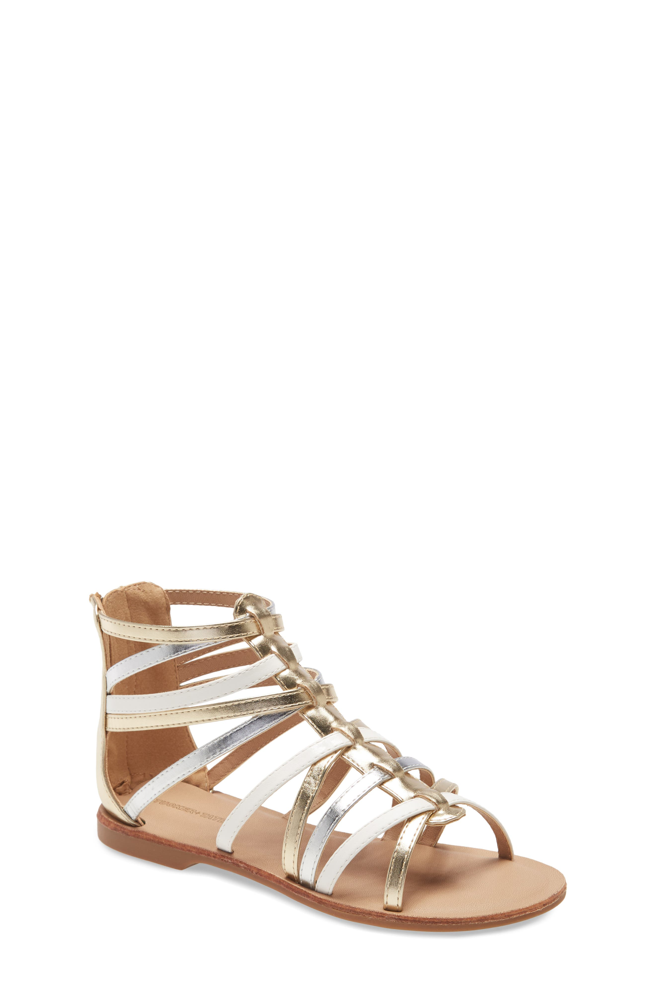 Shimmer and a mix of color enliven the look of a fun-or-fancy gladiator sandal styled with an easy-on back zipper. Style Name: Tucker + Tate Gladiator Sandal (Walker, Toddler, Little Kid & Big Kid). Style Number: 5941058. Available in stores.