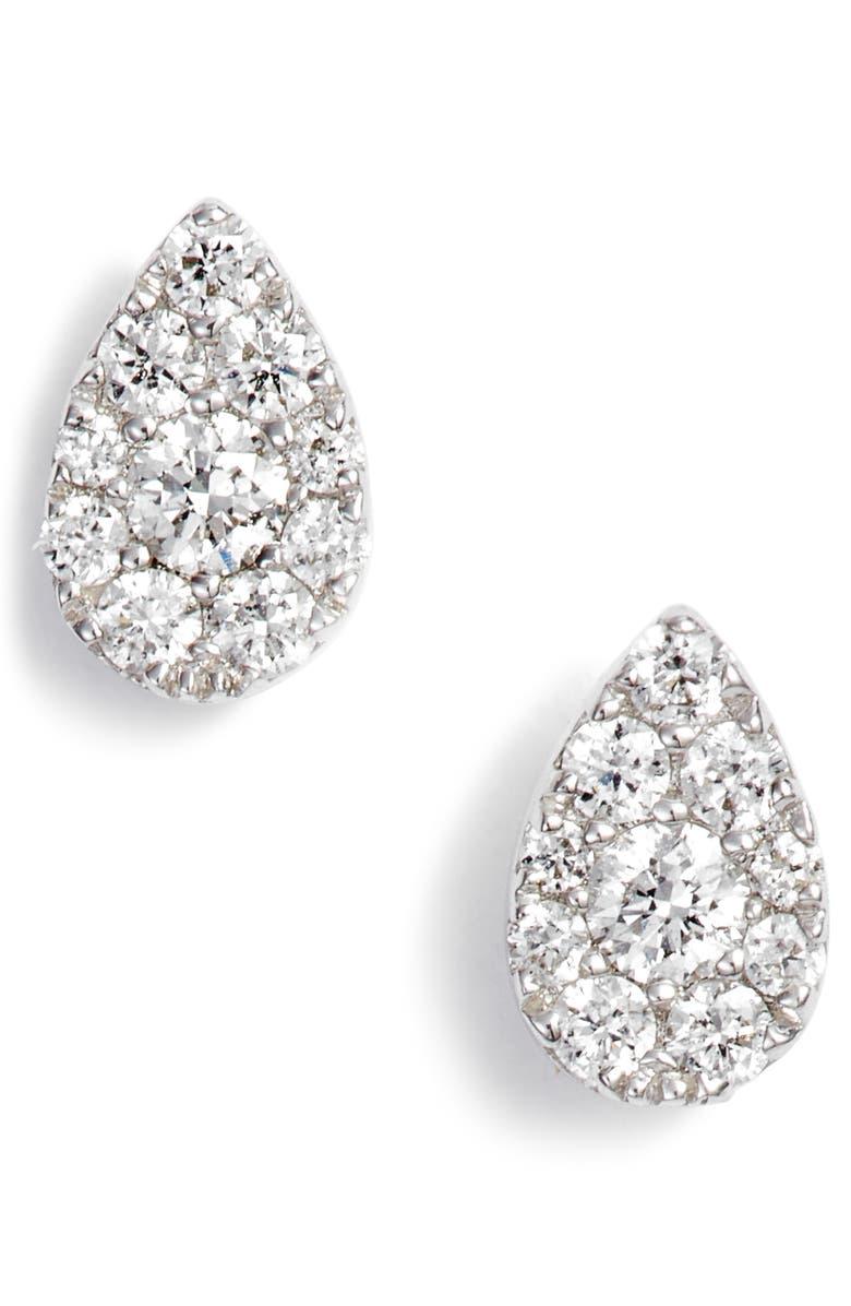 BONY LEVY Diamond Pavé Pear Stud Earrings, Main, color, WHITE GOLD/ DIAMOND