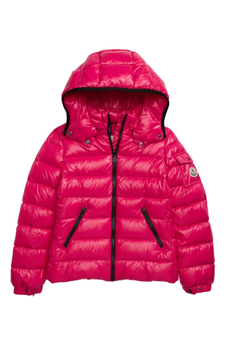 MONCLER Bady Water Resistant Down Hooded Puffer Jacket, Main, color, FUCHSIA
