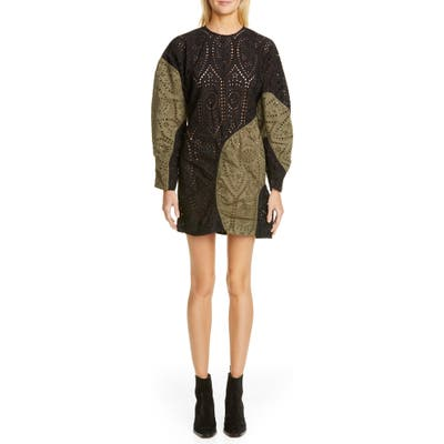 Ganni Long Sleeve Colorblock Broderie Anglaise Minidress, US / 4 - Green